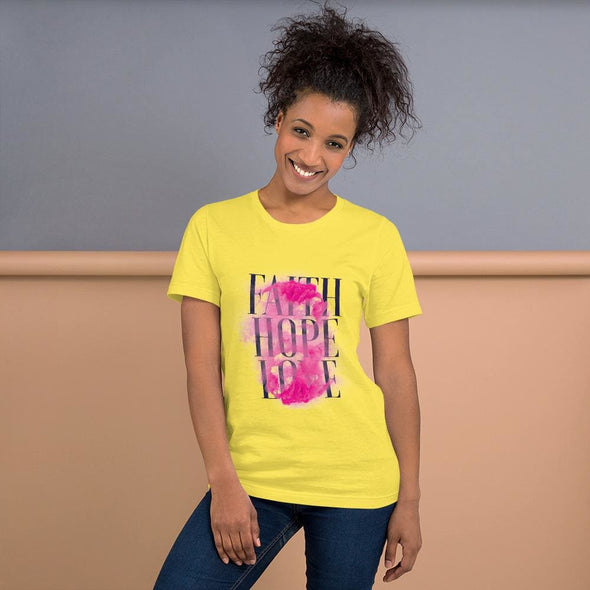 Faith Hope Love Design on T-Shirt - Yellow / S - T-shirts