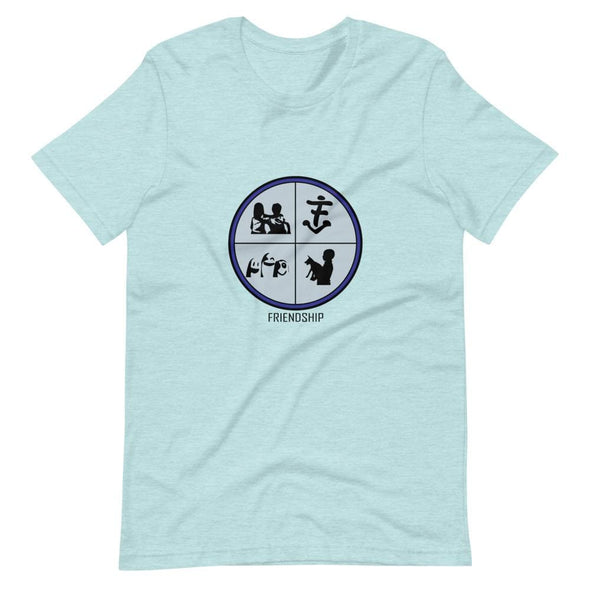 Friendship Sky Blue Design on T-Shirt - Heather Prism Ice