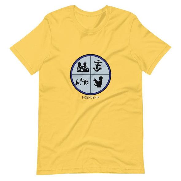 Friendship Sky Blue Design on T-Shirt - Yellow / S -