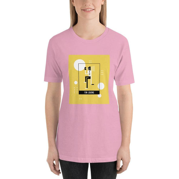 Fun Loading Yellow Design on Short-Sleeve T-Shirt - Lilac /