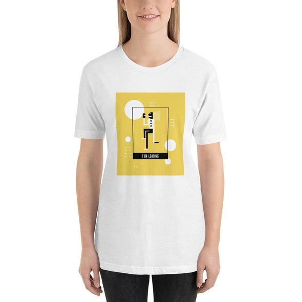Fun Loading Yellow Design on Short-Sleeve T-Shirt - White /