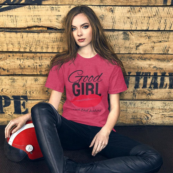 Good Girl Slogan with Red Lips T-Shirt (with Black Text) -