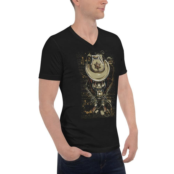 Gorilla Sheriff Design on V-Neck T-Shirt - T-shirts