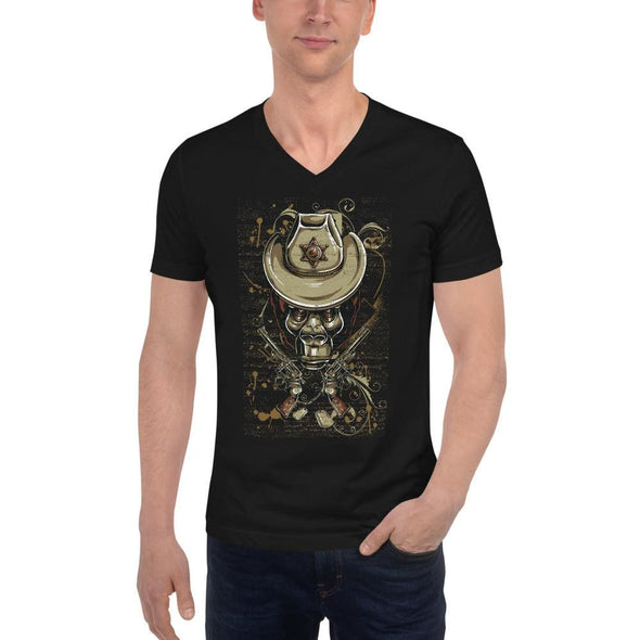 Gorilla Sheriff Design on V-Neck T-Shirt - XS - T-shirts
