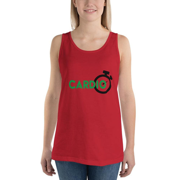 Green Cardio Design on Light Colored Tank Top - Red / S -