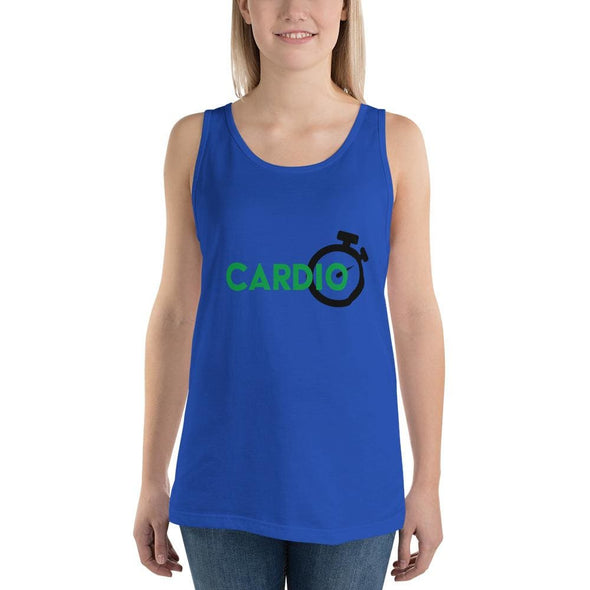 Green Cardio Design on Light Colored Tank Top - True Royal /