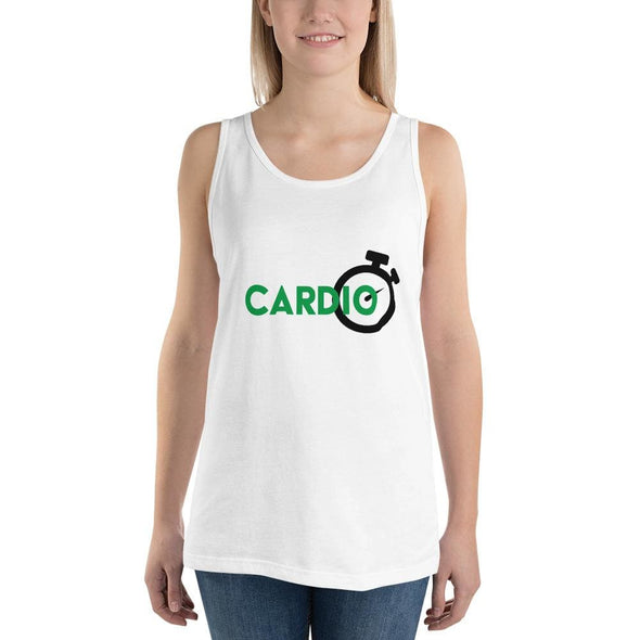 Green Cardio Design on Light Colored Tank Top - White / S -