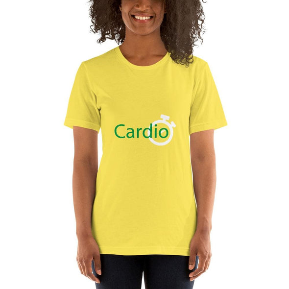 Green Cardio Design on Women's T-Shirt - Yellow / S -