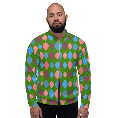 Green Diamonds Design on Bomber Jacket - XS - Jacket