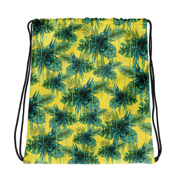 Green Flower Design Drawstring Bag - Bag
