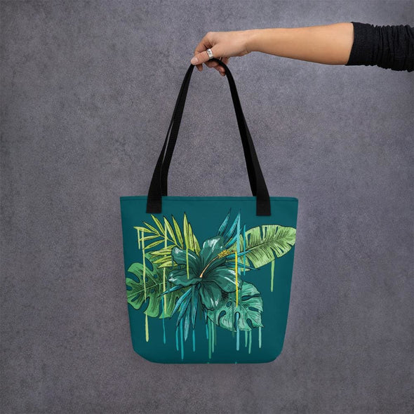 Green Flower Design Tote Bag - Black - Tote Bag