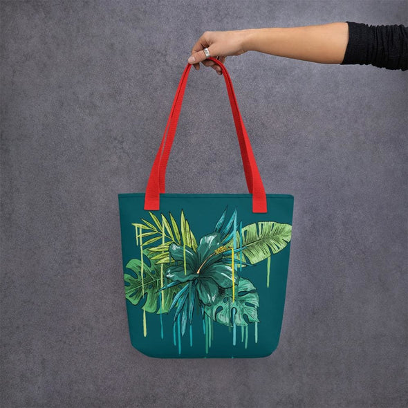 Green Flower Design Tote Bag - Red - Tote Bag