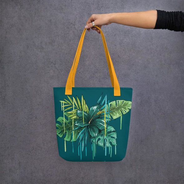 Green Flower Design Tote Bag - Yellow - Tote Bag