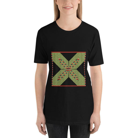 Green Square X Design on Short-Sleeve T-Shirt - Black / S -