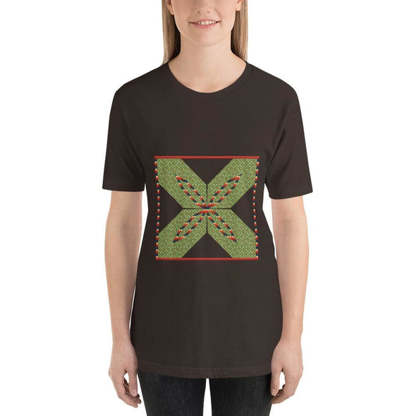 Green Square X Design on Short-Sleeve T-Shirt - Brown / S -