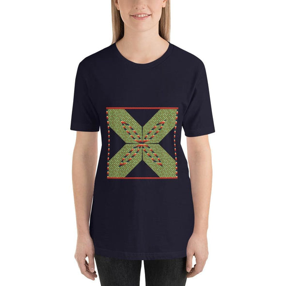 Green Square X Design on Short-Sleeve T-Shirt - Navy / S -
