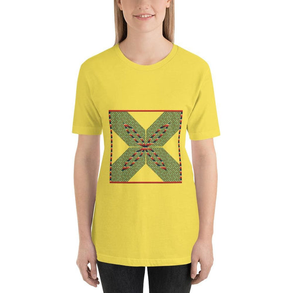 Green Square X Design on Short-Sleeve T-Shirt - Yellow / S -