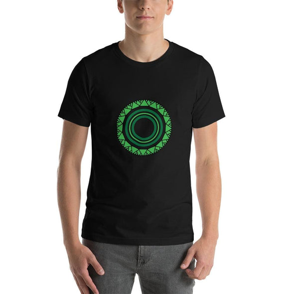 Green Star Circle Design on Men's T-Shirt - Black / S -