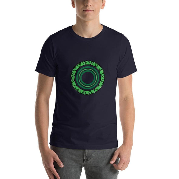 Green Star Circle Design on Men's T-Shirt - Navy / S -
