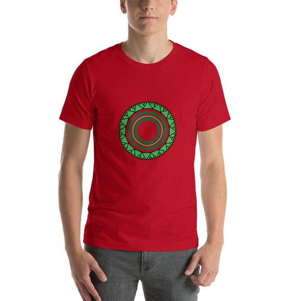 Green Star Circle Design on Men's T-Shirt - Red / S -