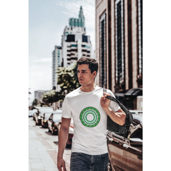 Green Star Circle Design on Men's T-Shirt - T-shirts