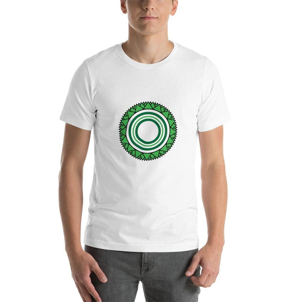 Green Star Circle Design on Men's T-Shirt - White / S -