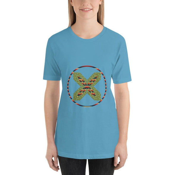 Green X Design on Short-Sleeve T-Shirt - Ocean Blue / S -