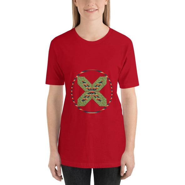 Green X Design on Short-Sleeve T-Shirt - Red / S - T-shirts