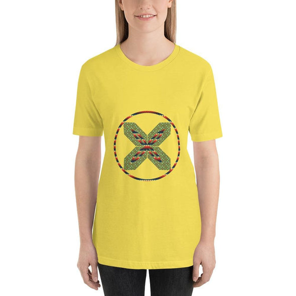 Green X Design on Short-Sleeve T-Shirt - Yellow / S -