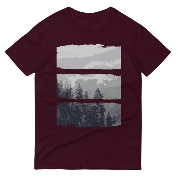 Grey Forest Design on Short-Sleeve T-Shirt - Maroon / S -