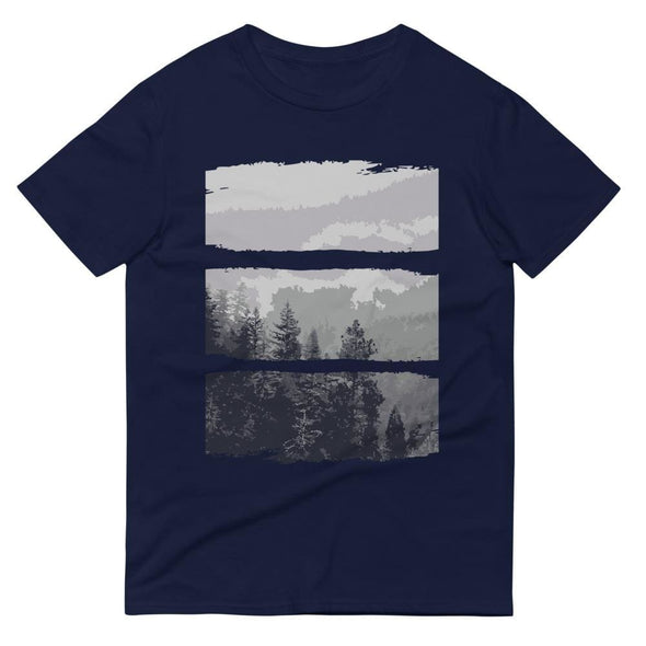 Grey Forest Design on Short-Sleeve T-Shirt - Navy / S -