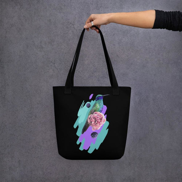 Hummingbird Design Tote bag - Black - Tote Bag