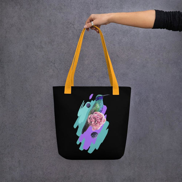 Hummingbird Design Tote bag - Yellow - Tote Bag