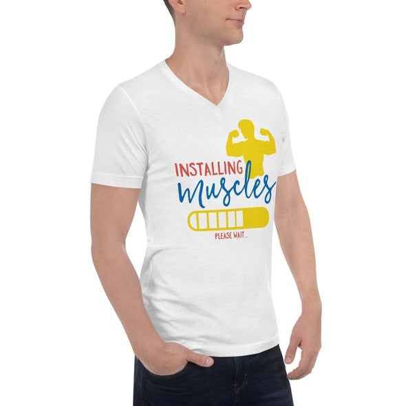 Installing Muscles Design on V-Neck T-Shirt - T-shirts