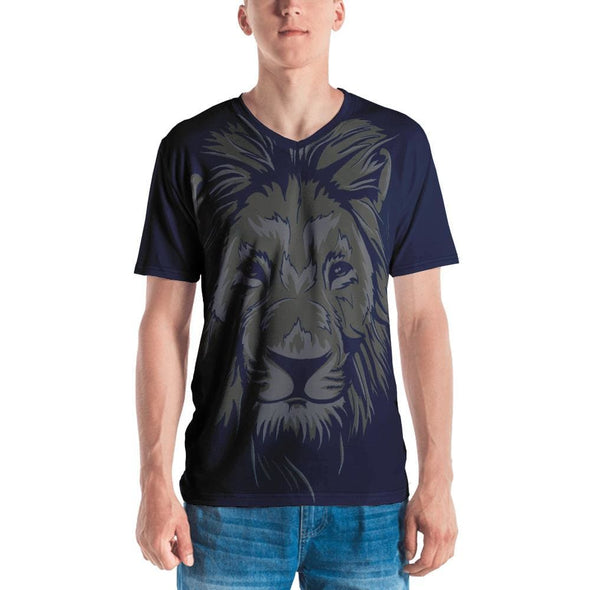 Lion Print on Navy T-Shirt - S - T-shirts