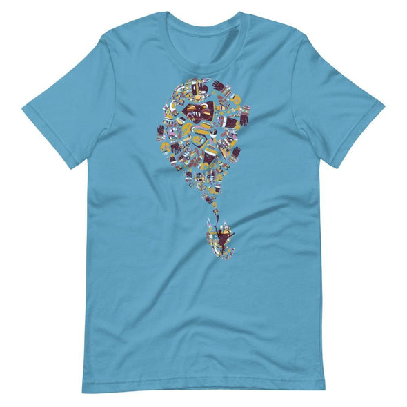 Mexican Art Design on Light Colored T-Shirt - Ocean Blue / S