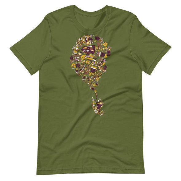 Mexican Art Design on Light Colored T-Shirt - Olive / S -