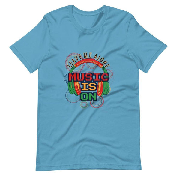 Music is on Slogan on Short-Sleeve T-Shirt - Ocean Blue / S