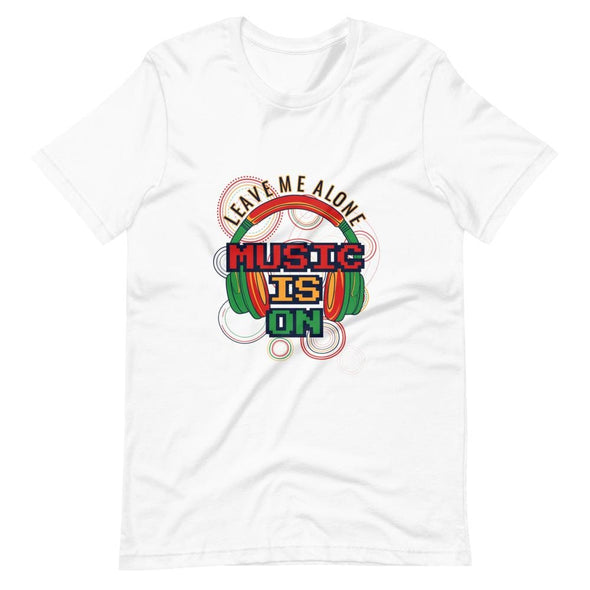 Music is on Slogan on Short-Sleeve T-Shirt - White / XS -