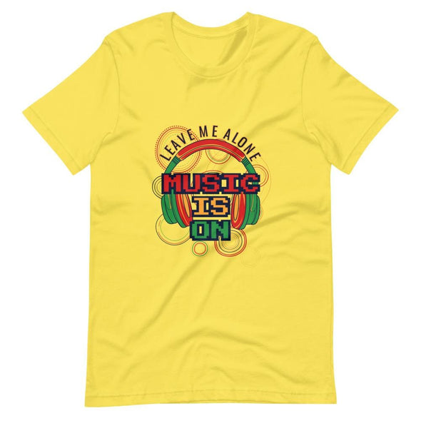 Music is on Slogan on Short-Sleeve T-Shirt - Yellow / S -
