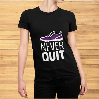 Never Quit Design on Bark Colored Women's T-Shirt - T-shirts