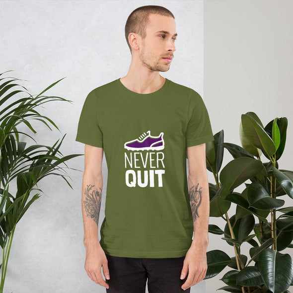 Never Quit Design on Dark Colored Men's T-Shirt - Olive / S