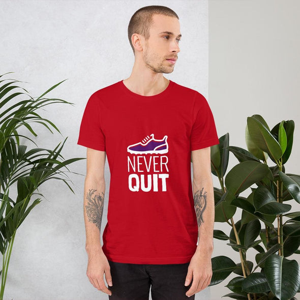 Never Quit Design on Dark Colored Men's T-Shirt - Red / S -