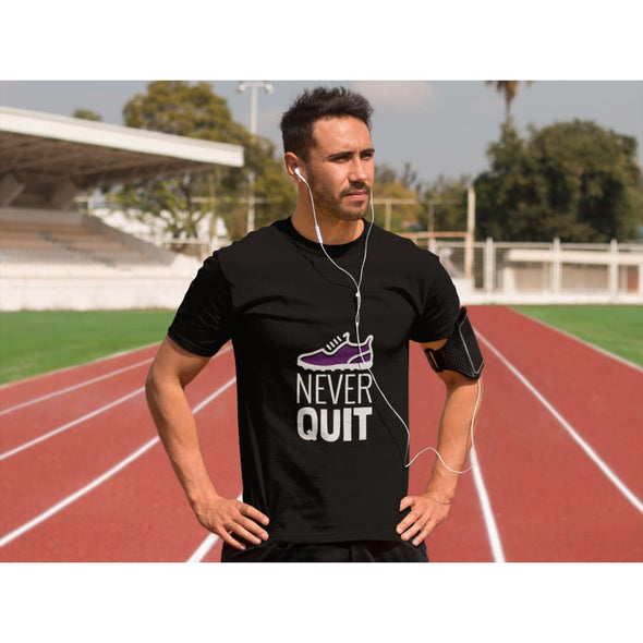 Never Quit Design on Dark Colored Men's T-Shirt - T-shirts
