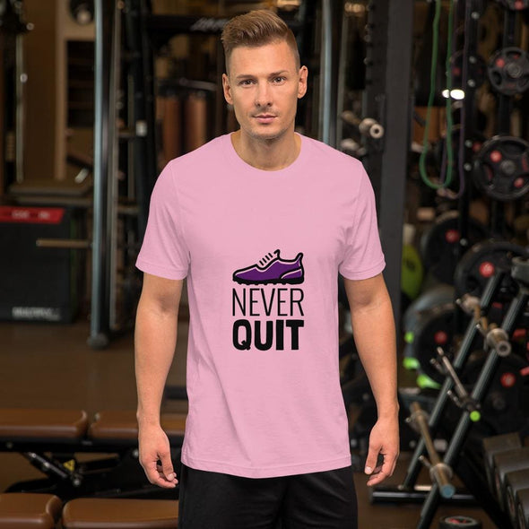 Never Quit Design on Light Colored Men's T-Shirt - Lilac / S