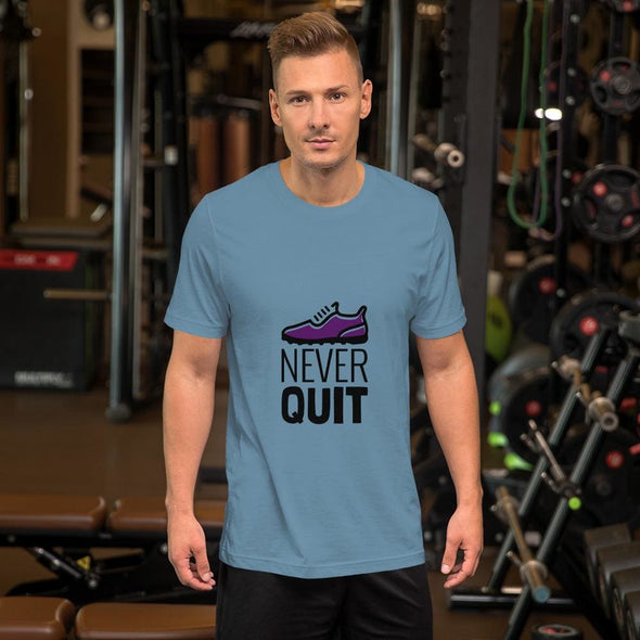 Never Quit Design on Light Colored Men's T-Shirt - Steel