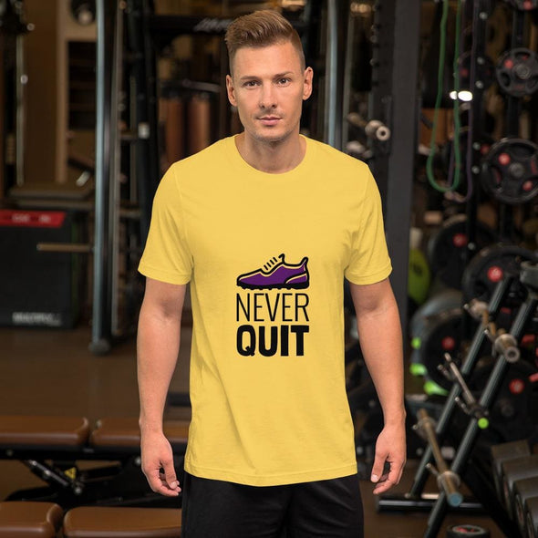 Never Quit Design on Light Colored Men's T-Shirt - Yellow /