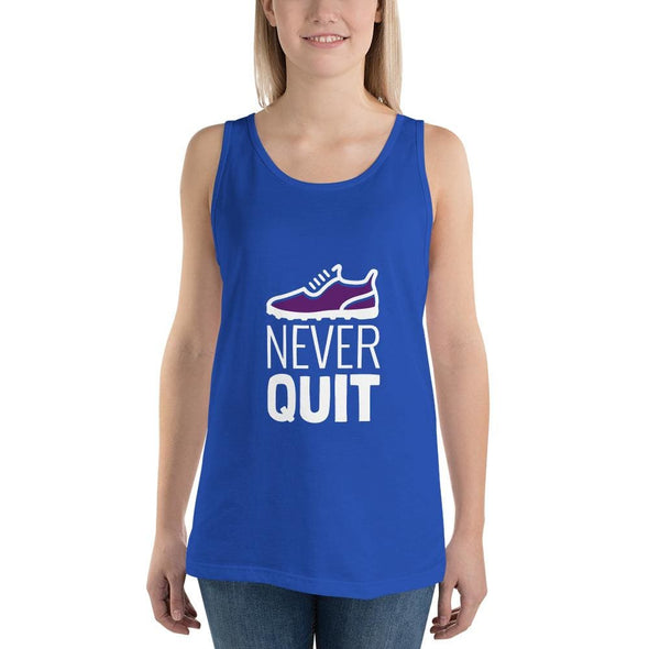Never Quit Design on Women's Tank Top - True Royal / XS -