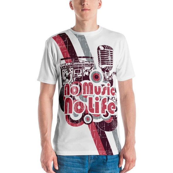 No Music No Life Design on White T-shirt - S - T-shirts