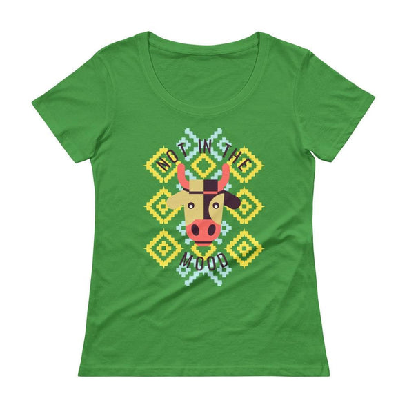 Not in the Mood Ladies' Scoop-neck T-Shirt - Green Apple /